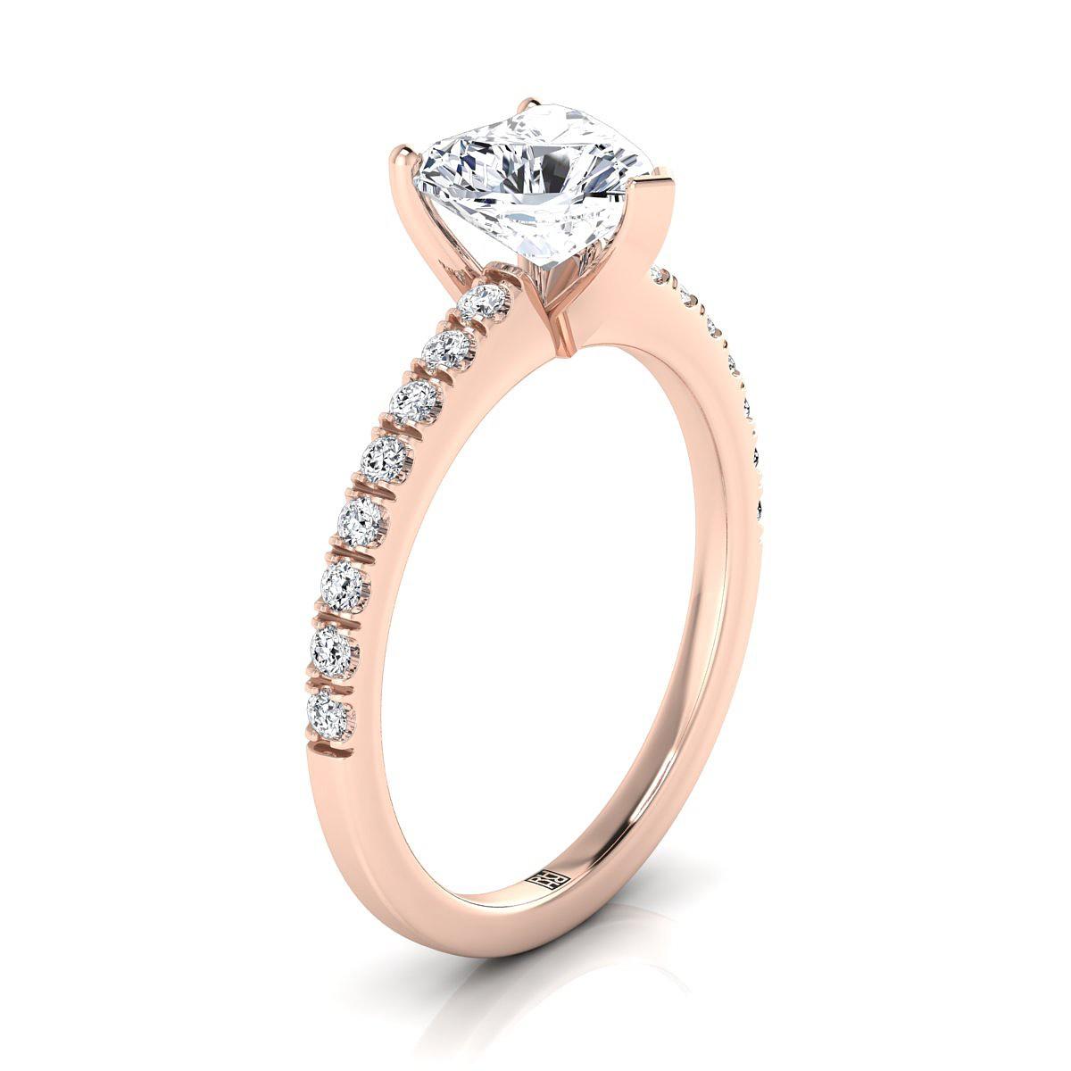 Classic Petite Split Prong Heart Shape Diamond Engagement Ring In 14k Rose  Gold (1/5 Ct.tw.)