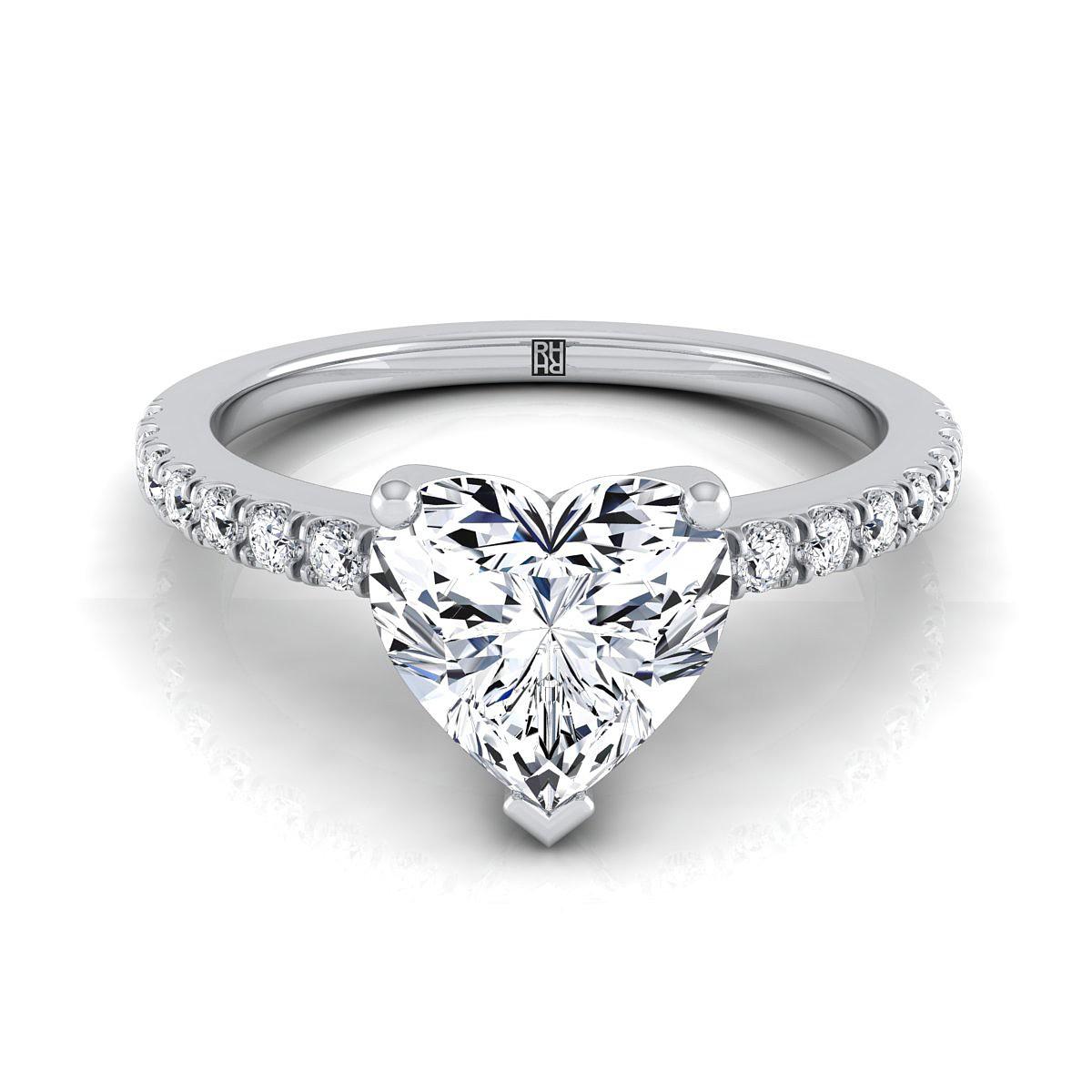 Classic Petite Split Prong Heart Shape Diamond Engagement Ring In 14k White  Gold (1/5 Ct.tw.)