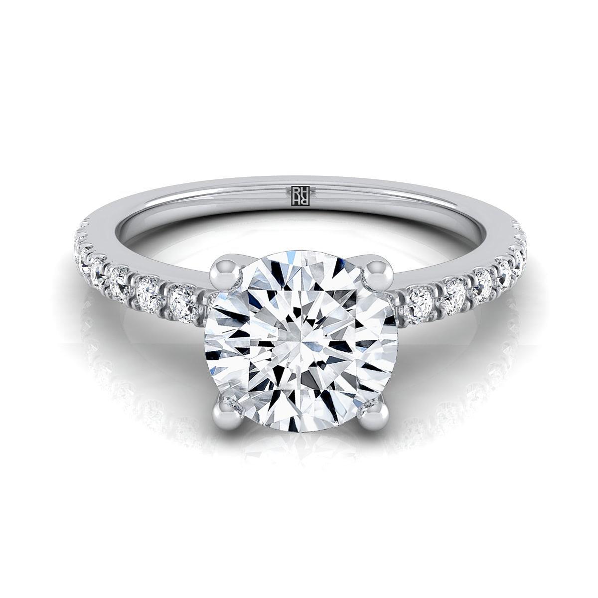 Classic Petite Split Prong  Diamond Engagement Ring In 14k White Gold (1/5 Ct.tw.)