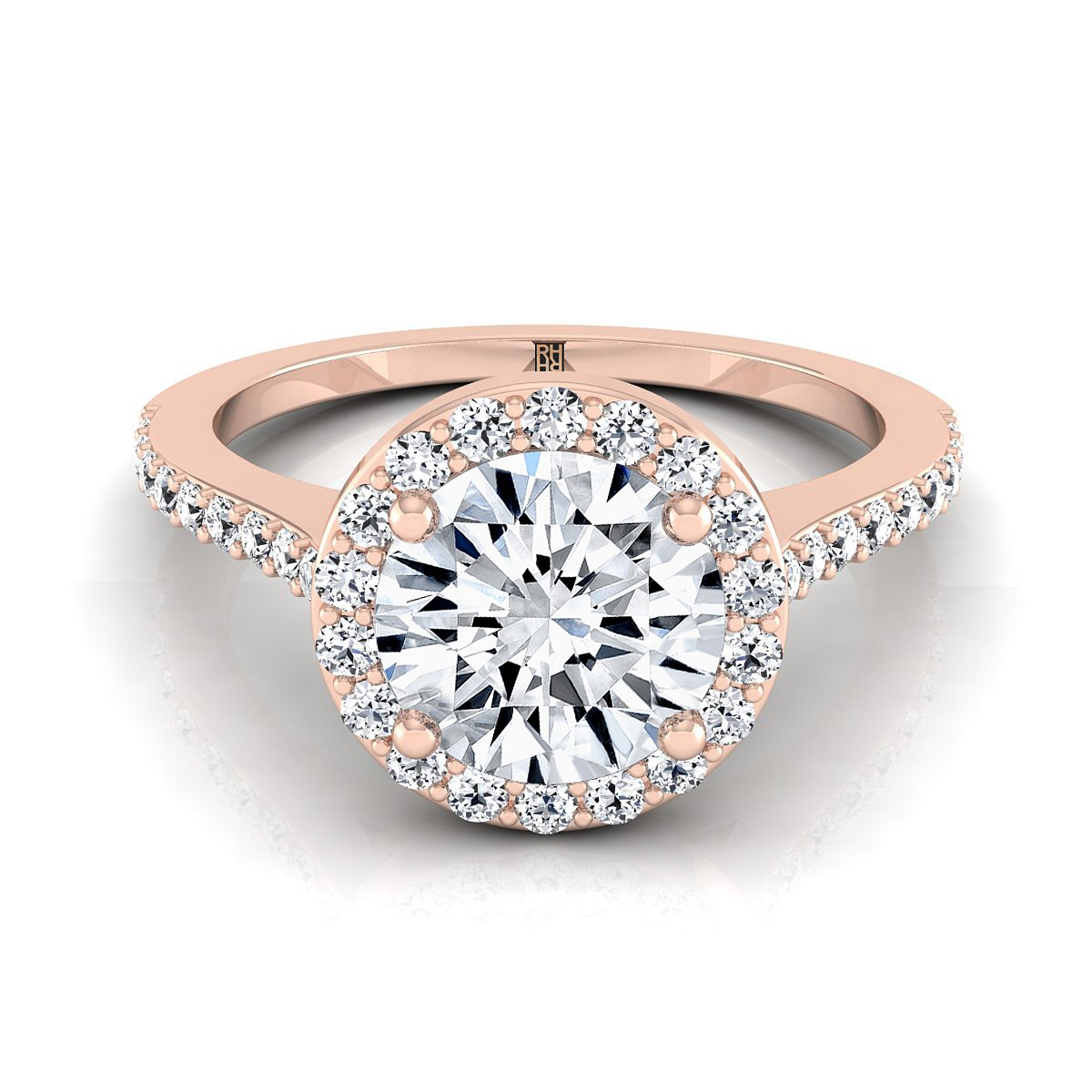 Diamond Halo Engagement Ring With Pave Shank In 14k Rose Gold (1/3 Ct.tw.)
