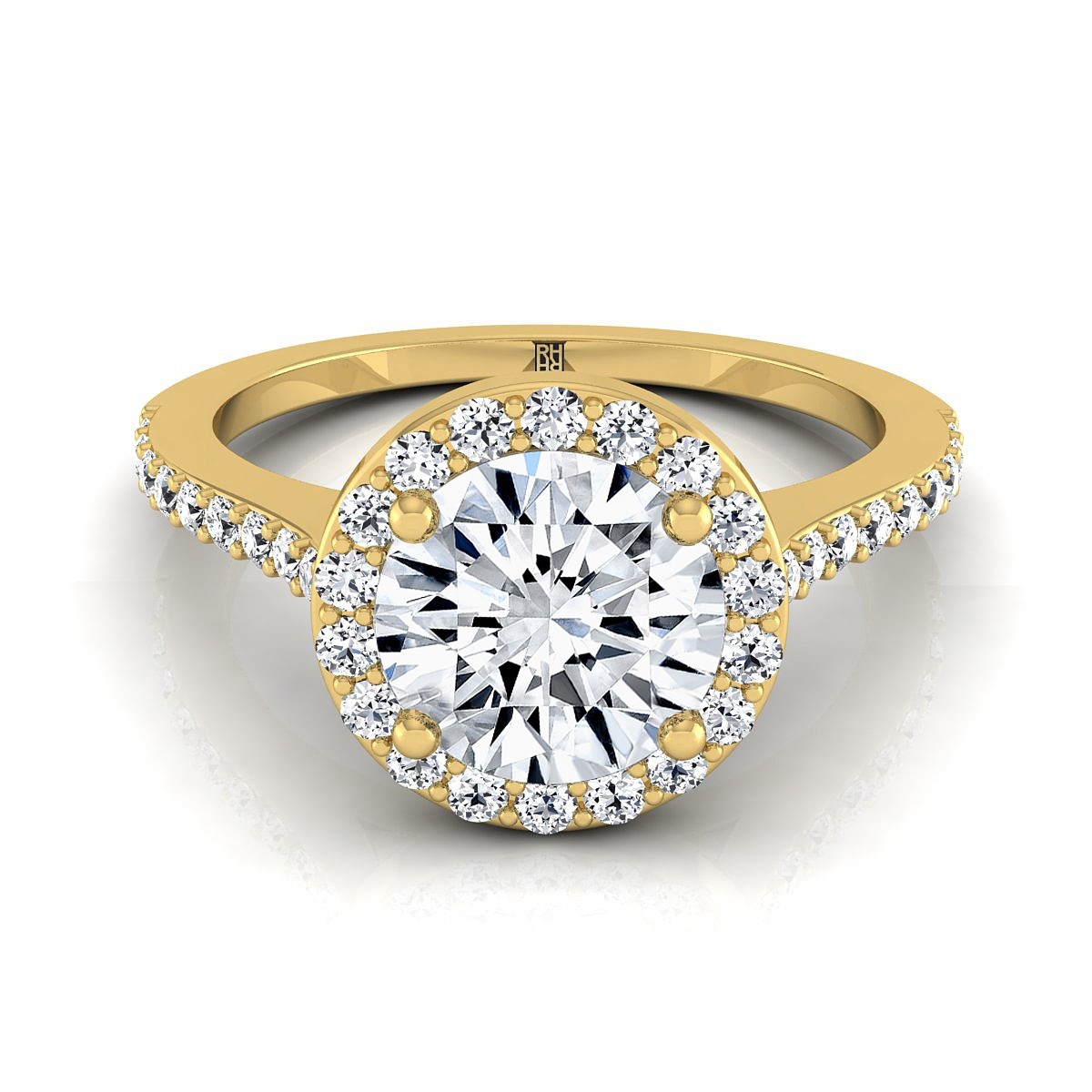 Diamond Halo Engagement Ring With Pave Shank In 14k Yellow Gold (1/3 Ct.tw.)