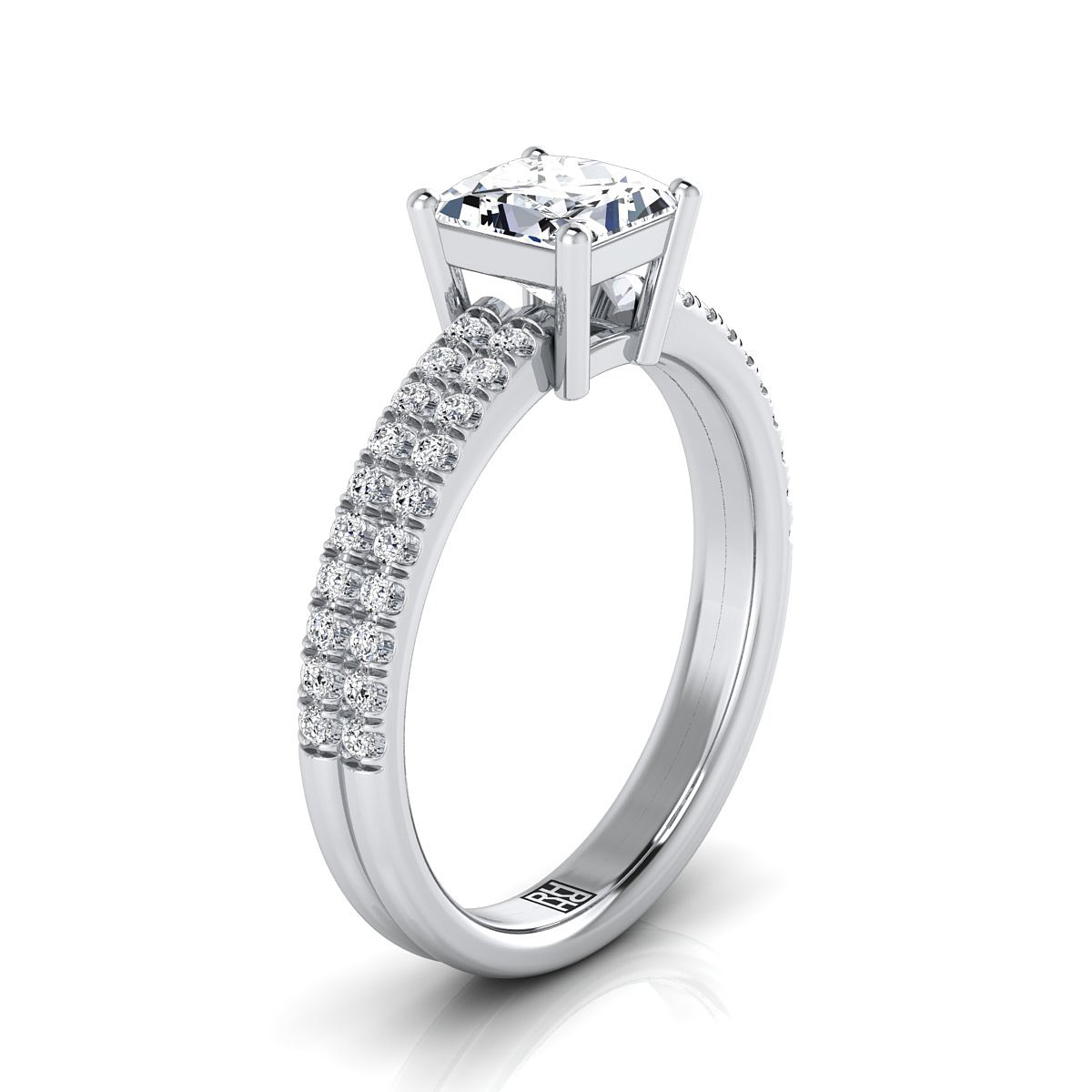 Princess Cut Diamond Double Row Engagement Ring With Micro U Set Pave In 14k White Gold 1 4 Cttw