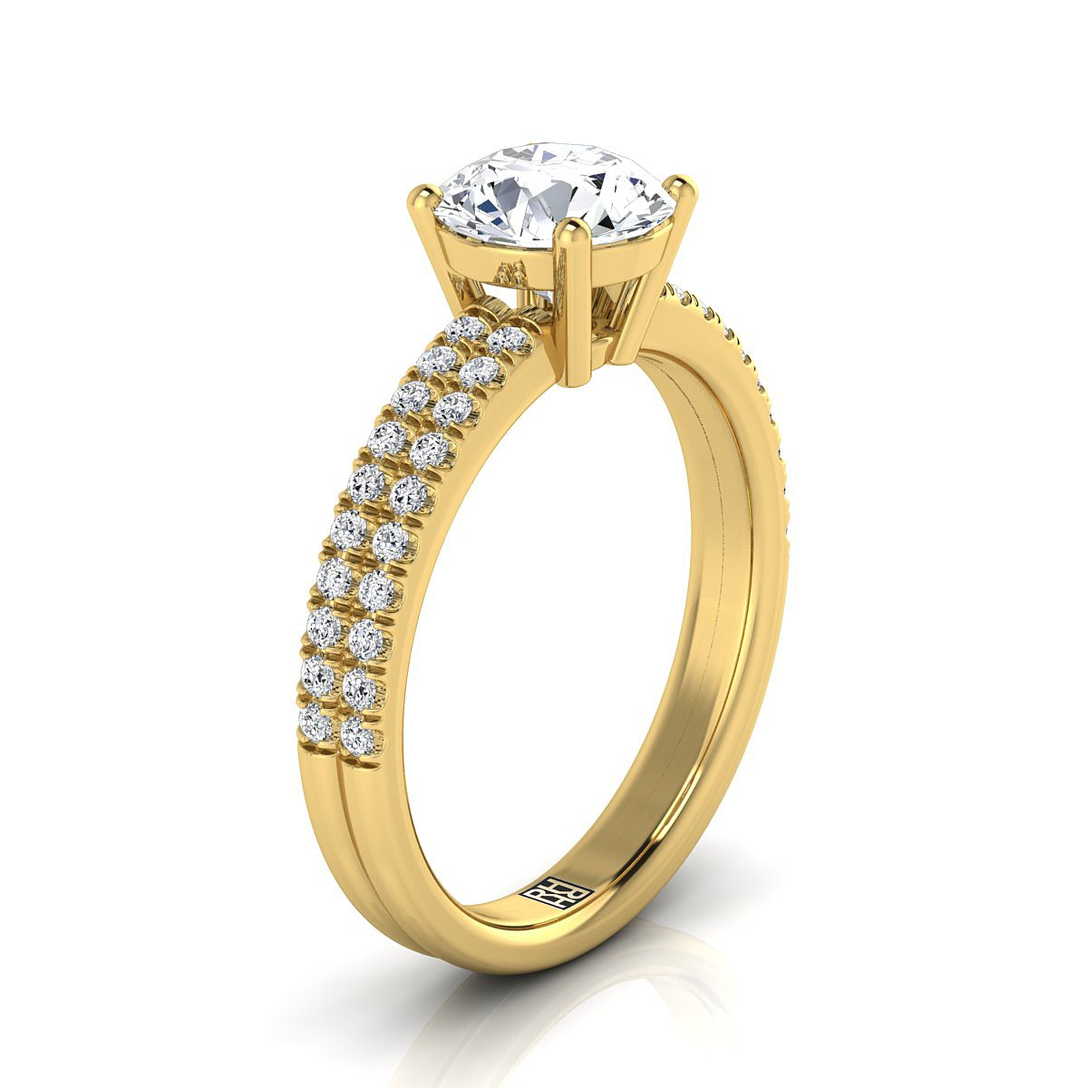Diamond Double Row Engagement Ring With Micro U Set Pave In 14k Yellow Gold (1/4 Ct.tw.)
