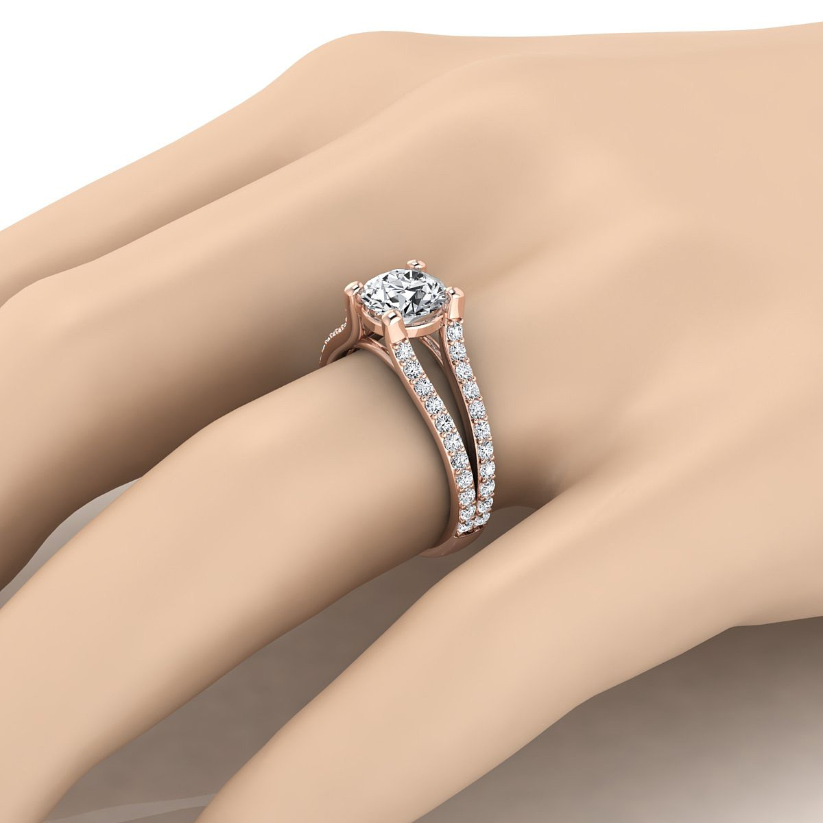 Diamond Engagement Ring With Split Pave Shank In 14k Rose Gold (1/2 Ct.tw.)