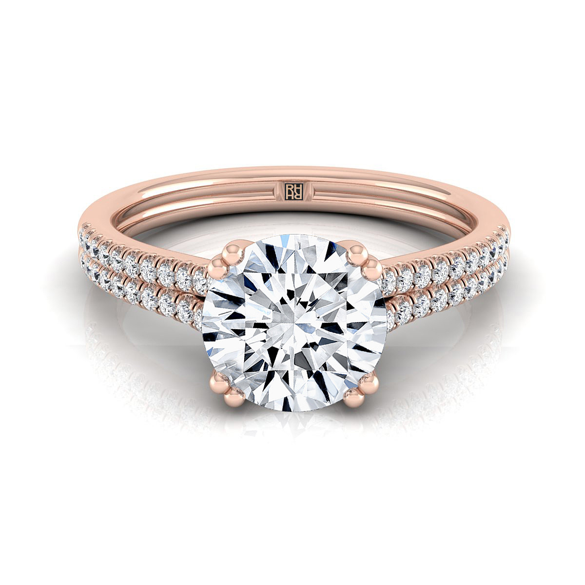 Diamond 2 Row Engagement Ring With A Double Prong Cathedral Setting In 14k Rose  Gold (1/5 Ct.tw.)