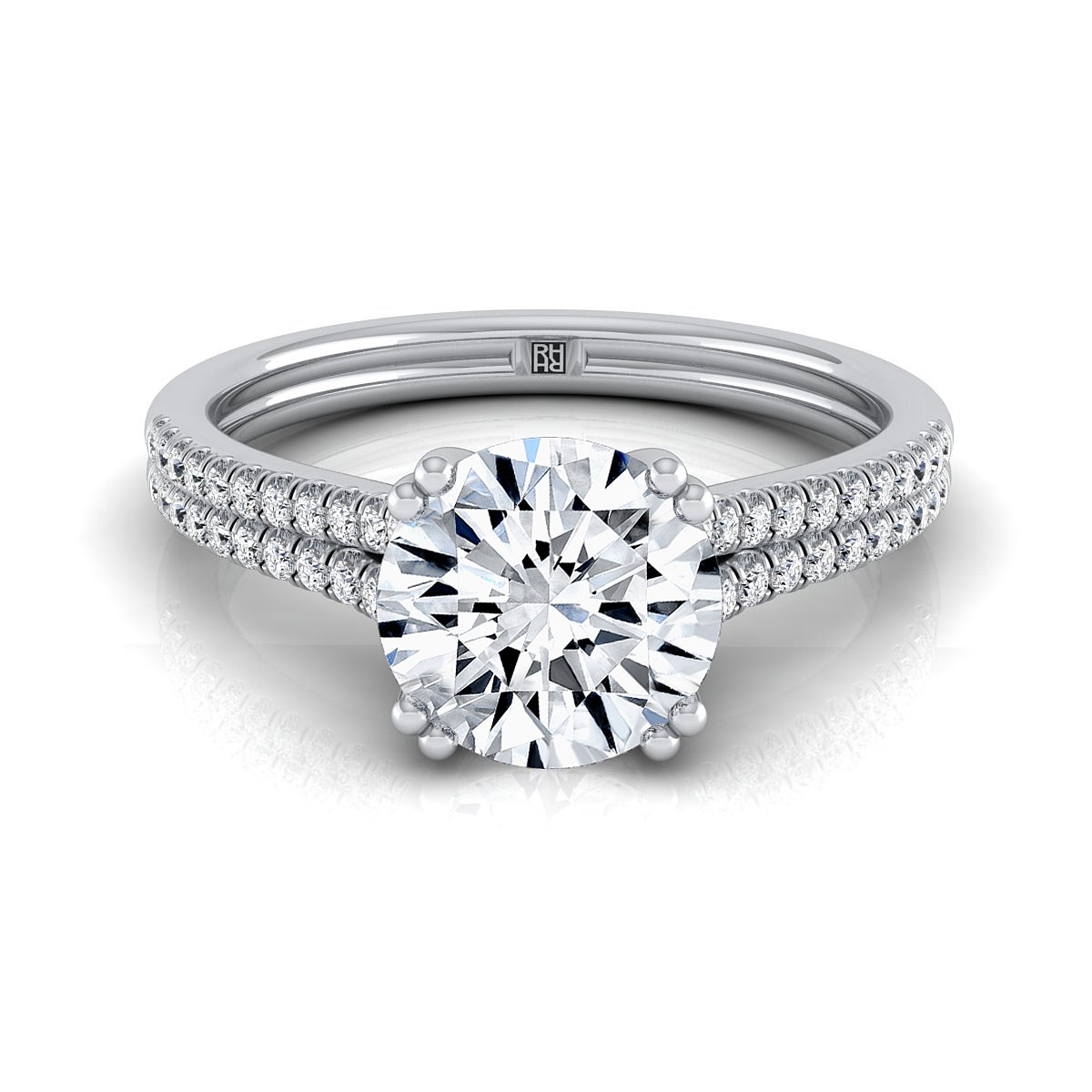 Diamond 2 Row Engagement Ring With A Double Prong Cathedral Setting In 14k White Gold (1/5 Ct.tw.)