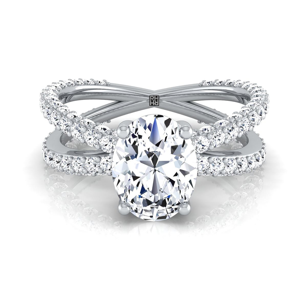 Oval Diamond Crossover Engagement Ring 14k White Gold