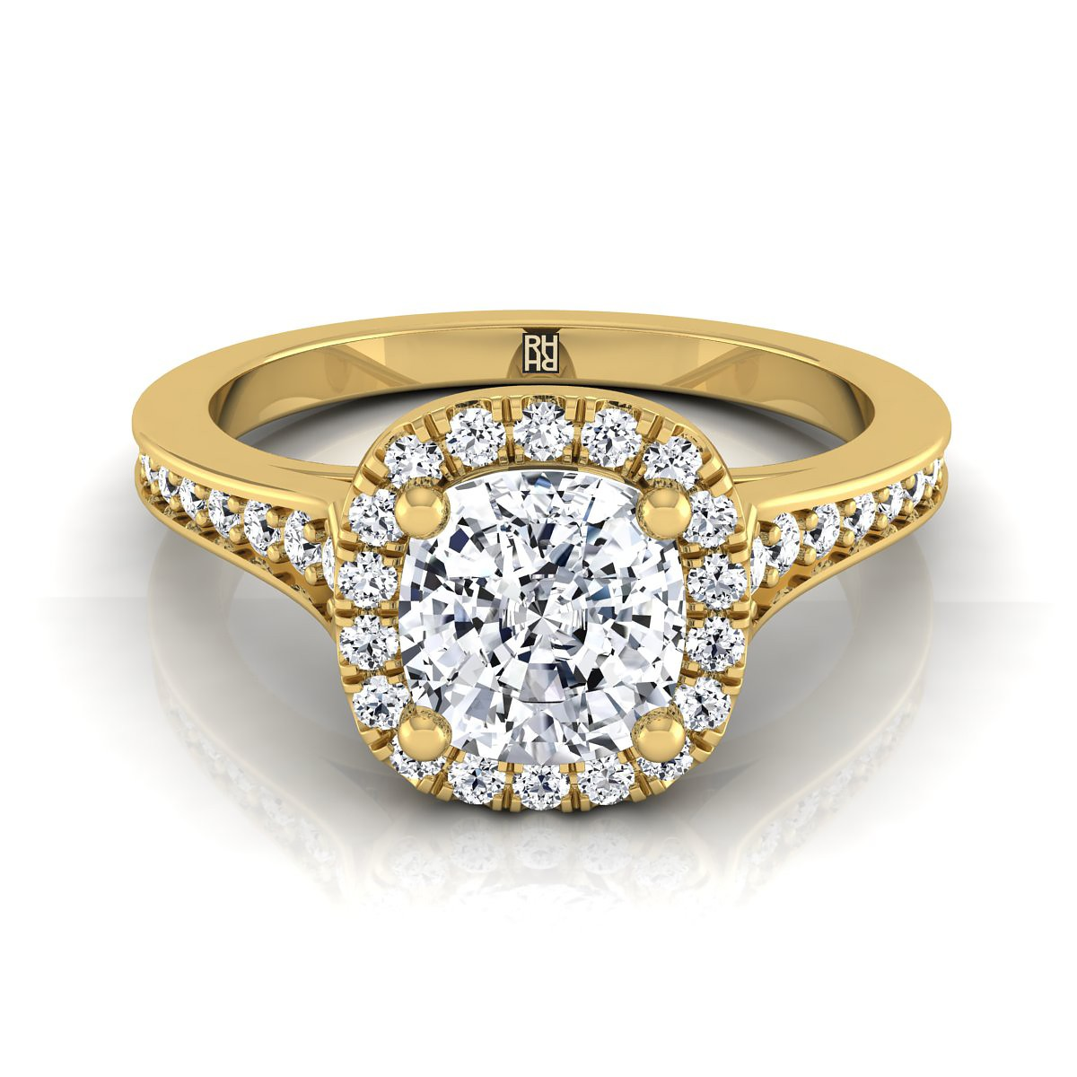 Cushion Cut Diamond Engagement Ring With Halo Frame And Pave Shank In 14k Yellow Gold (1/3 Ct.tw.)