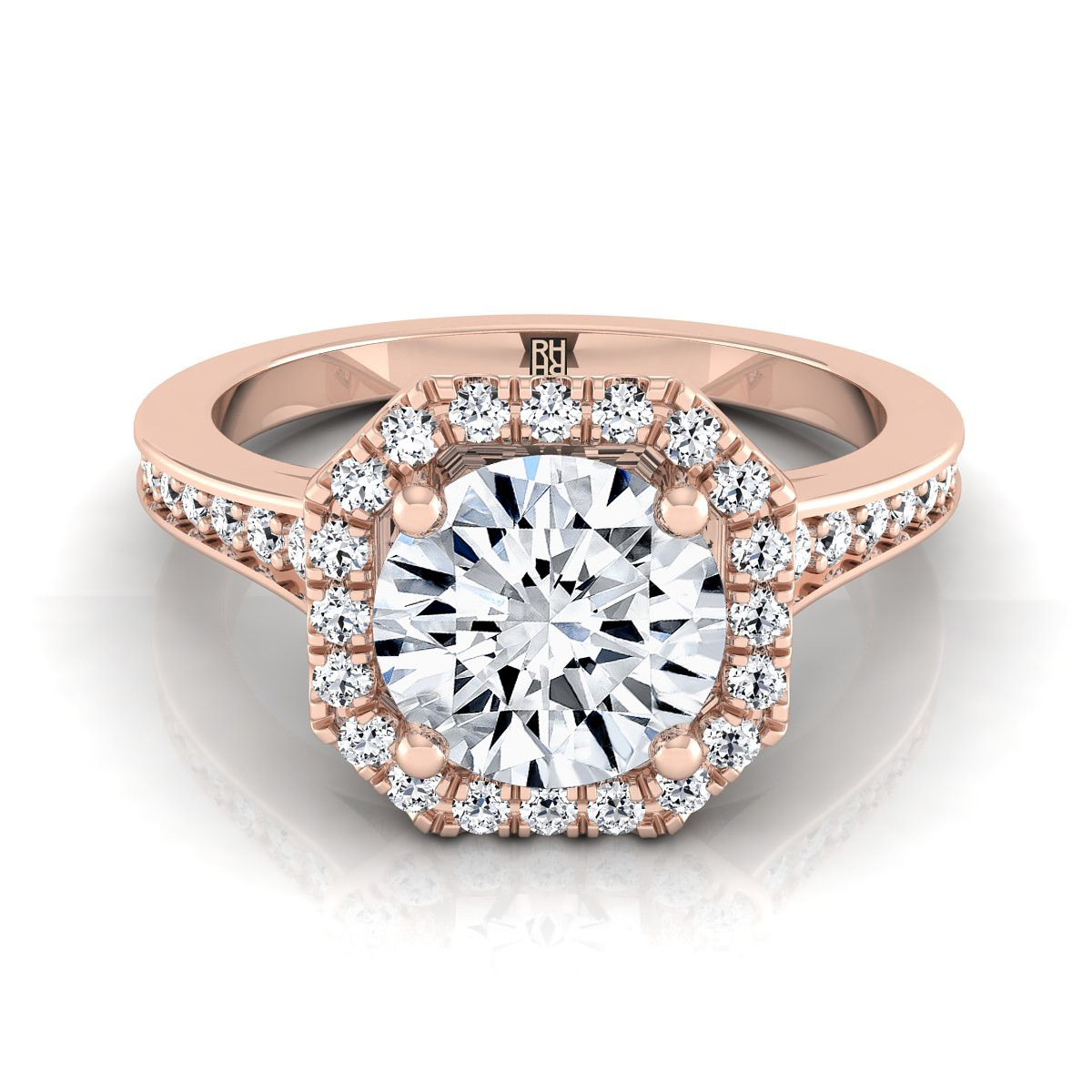 diamond engagement ring with octagon halo frame with pave shank in 14k rose gold 13 cttw - Rose Wedding Rings