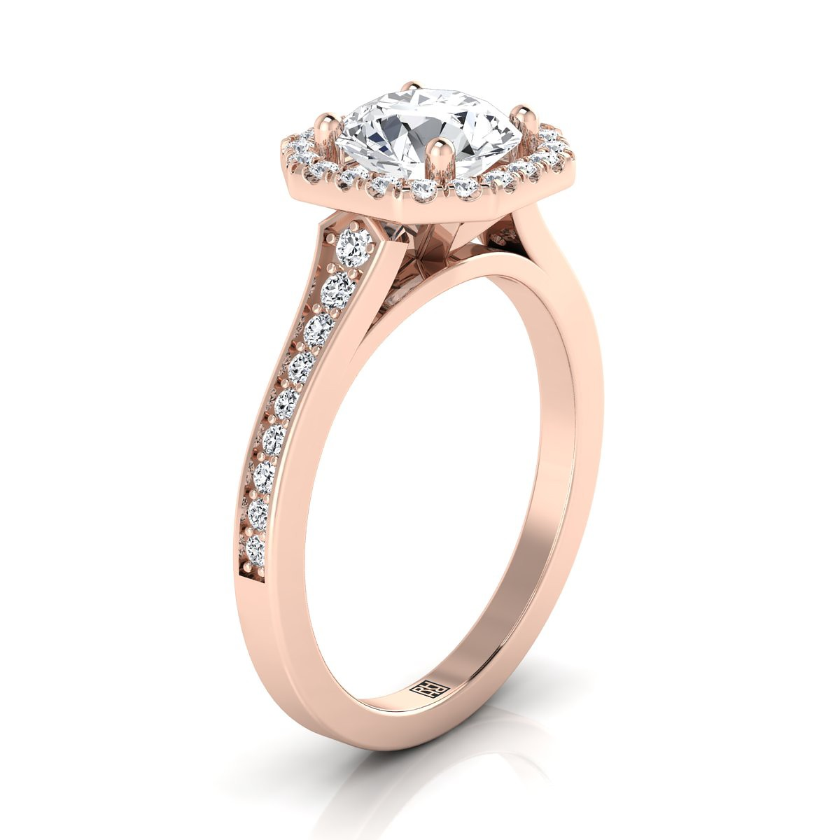 round diamond octagon halo engagement ring 14k rose gold pointed