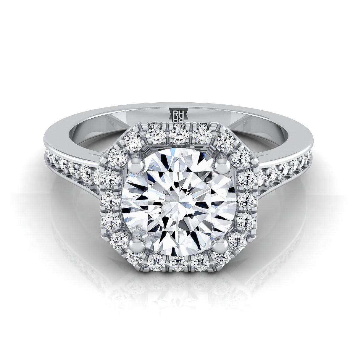 Round Diamond Octagon Halo Engagement Ring 14k White Gold ...