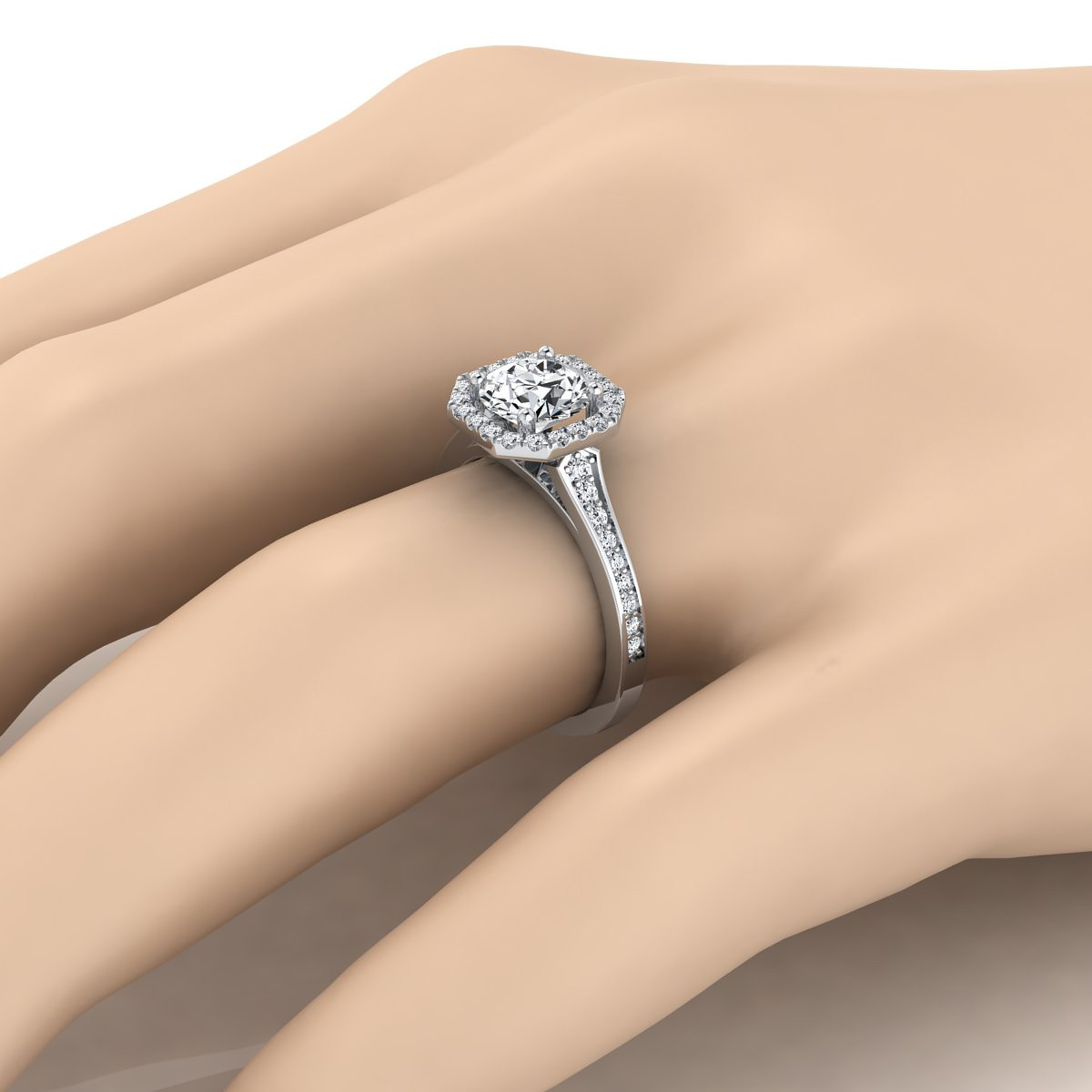 Diamond Engagement Ring With Octagon Halo Frame With Pave Shank In 14k White Gold (1/3 Ct.tw.)