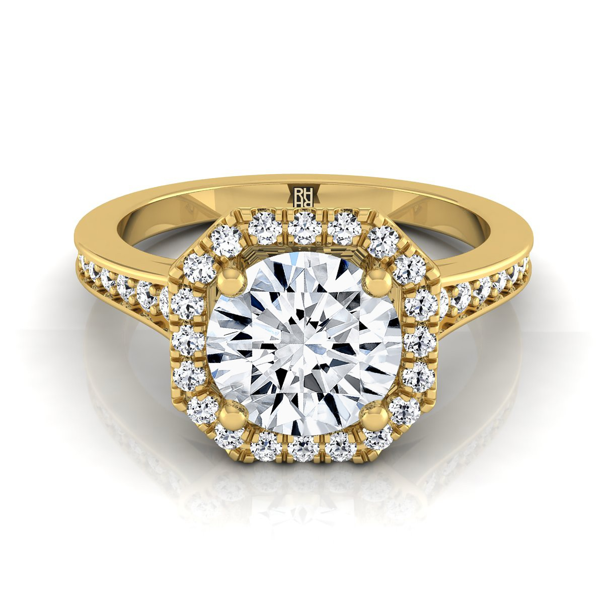 Diamond Engagement Ring With Octagon Halo Frame With Pave Shank In 14k Yellow Gold (1/3 Ct.tw.)