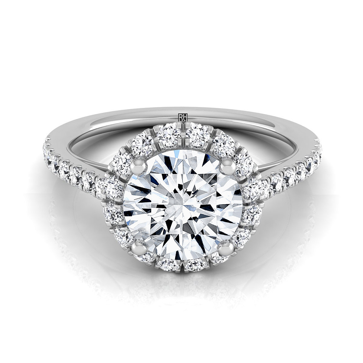 Diamond Halo Engagement Ring With Petite Pave Shank In 14k White Gold (3/8 Ct.tw.)