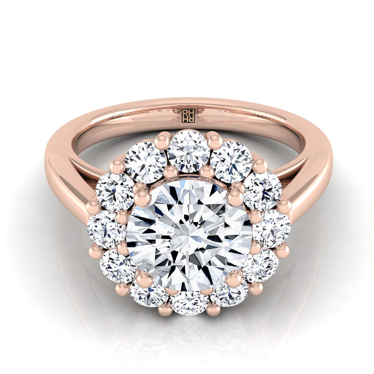 Diamond Prong Set Halo Engagement Ring In 14k Rose Gold (4/5 Ct.tw.)