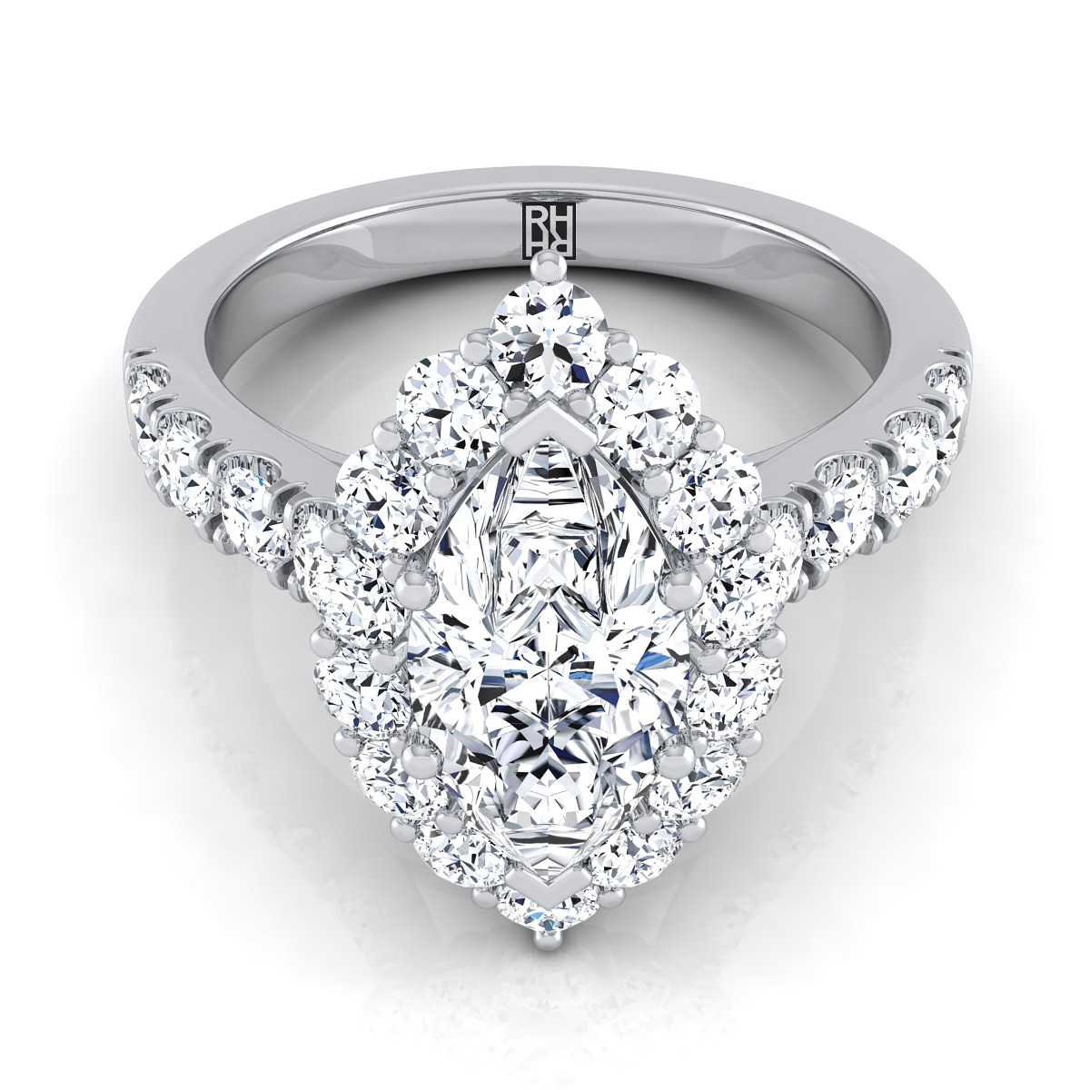 Marquise Diamond Halo Engagement Ring With Pave Shank In 14k White Gold (1 1/6 Ct.tw.)