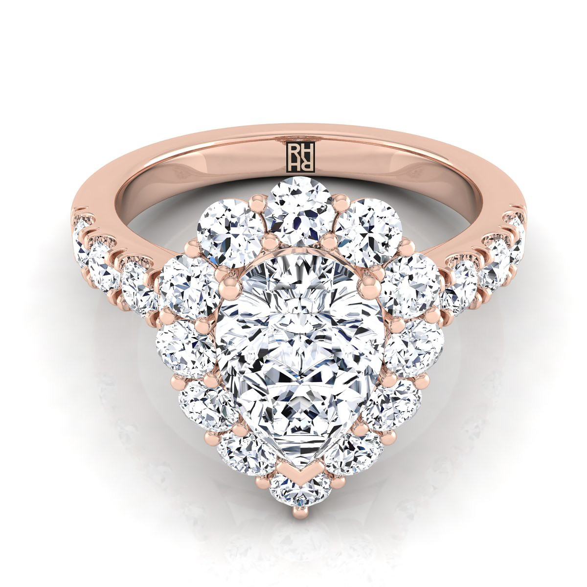 Pear Shape Diamond Halo Engagement Ring With Pave Shank In 14k Rose Gold (1 1/4 Ct.tw.)
