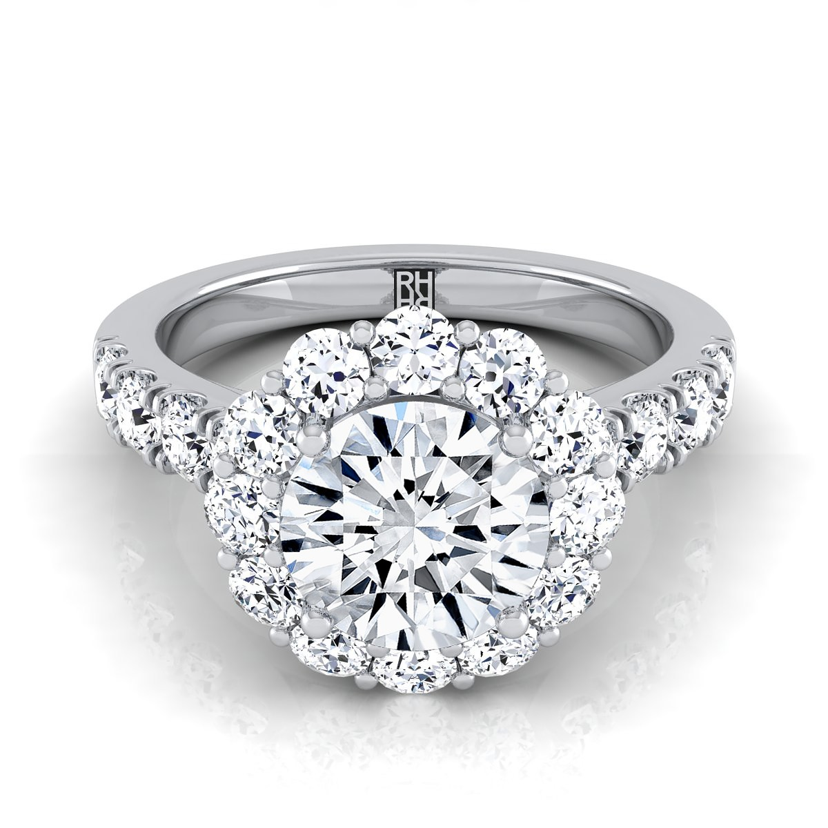 Diamond Halo Engagement Ring With Pave Shank In 14k White Gold (1-1/16 Ct.tw.)