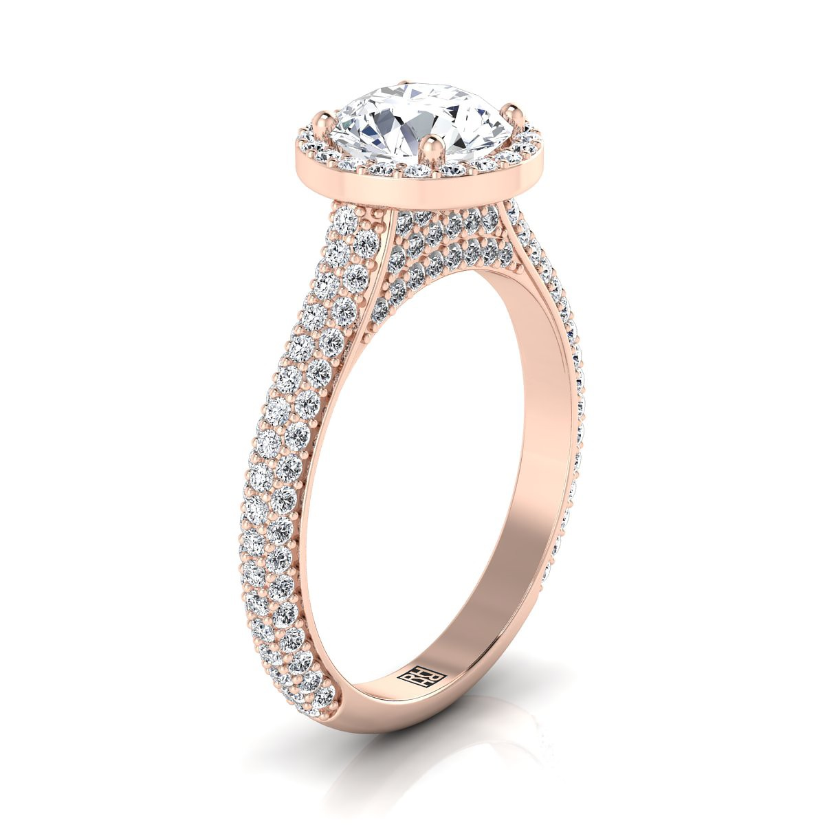 Diamond Pave Engagement Ring With Triple Row Shank In 14k Rose Gold (4/5 Ct.tw.)