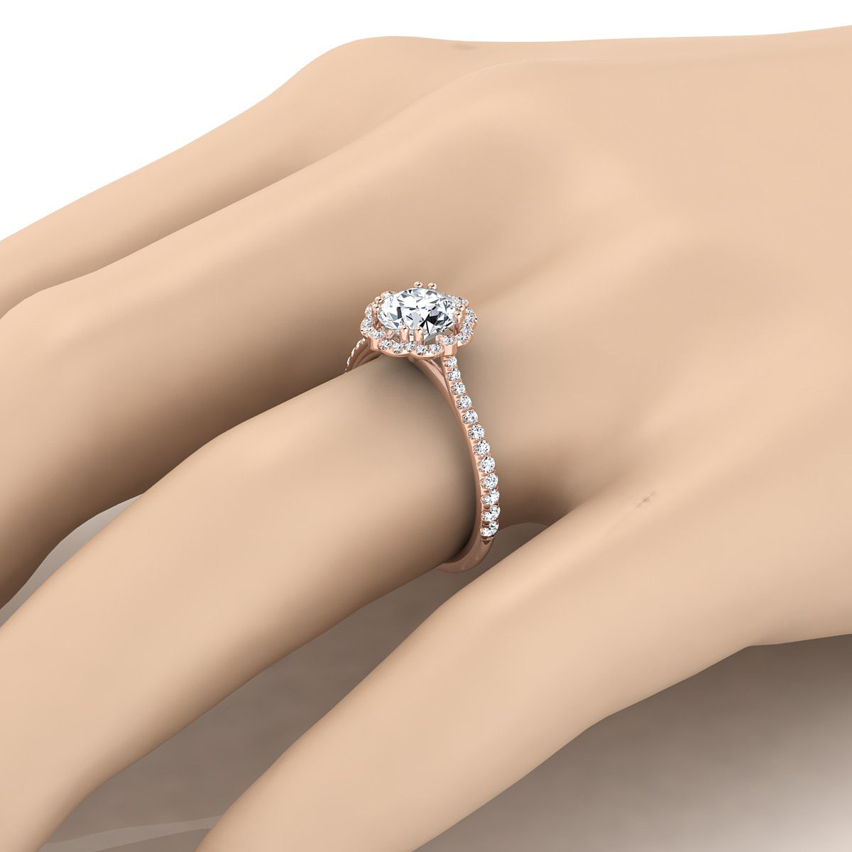 Diamond Scalloped Halo Engagement Ring With A Graduated Shank In 14k Rose Gold (1/4 Ct.tw.)