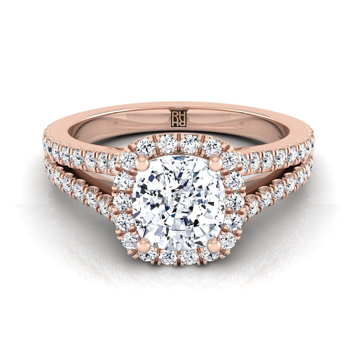 Cushion Cut Diamond Halo Engagement Ring With Split Pave Shank In 14k Rose Gold (3/8 Ct.tw.)