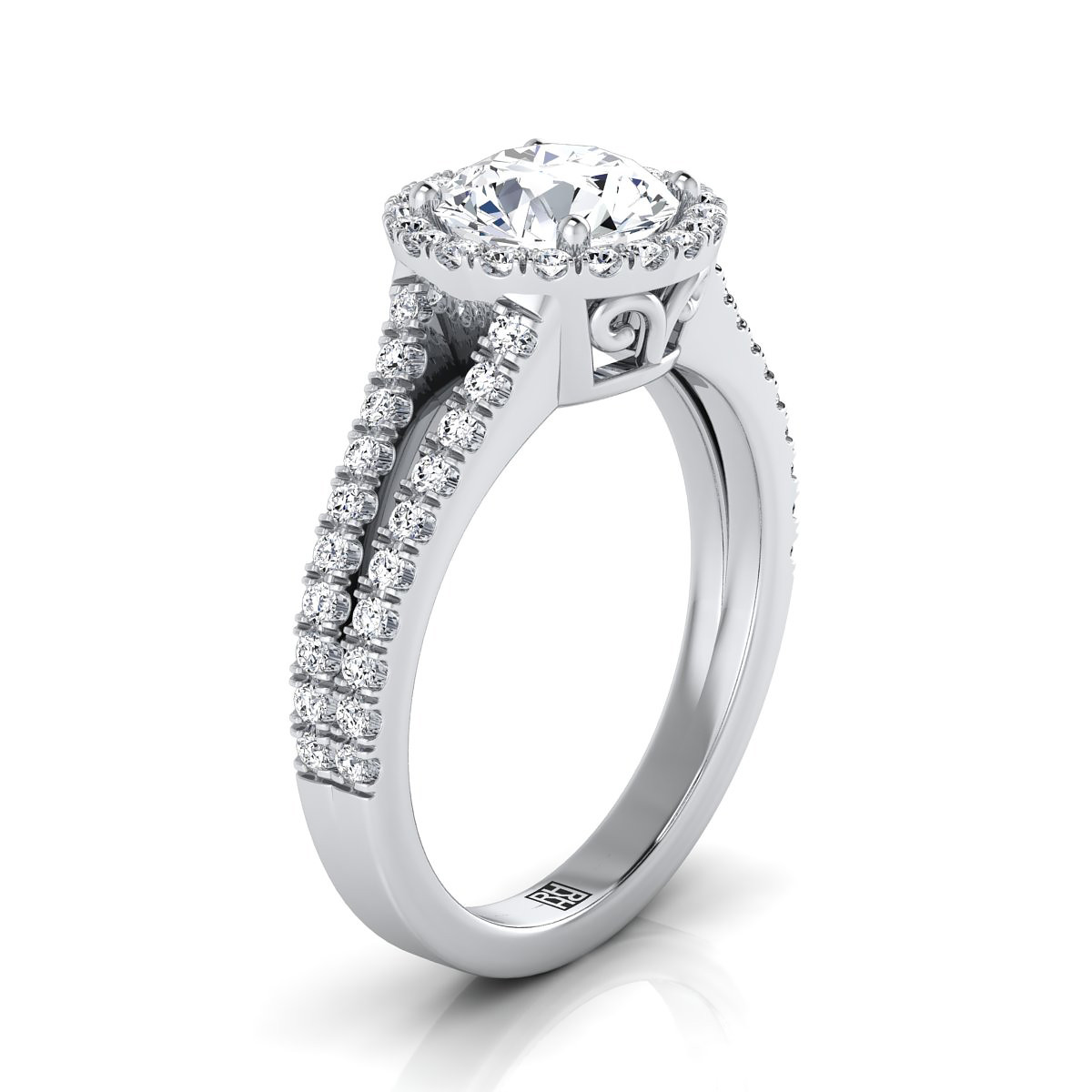 Diamond Halo Engagement Ring With Split Pave Shank In 14k White Gold (3/8 Ct.tw.)