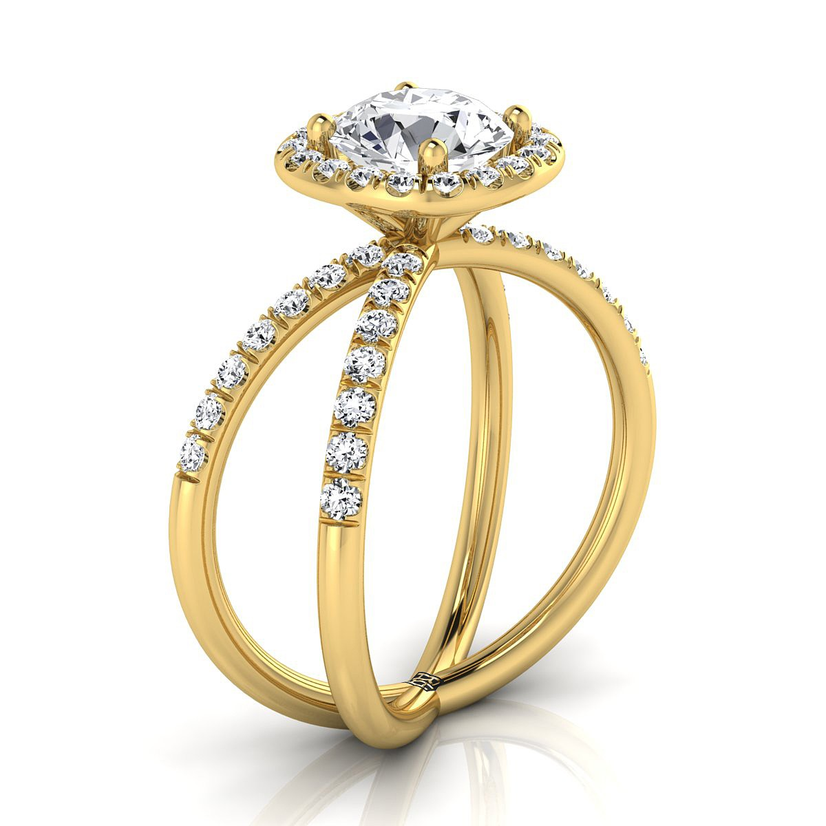 Diamond Halo Engagement Ring With Crossover Pave Shank In 14k Yellow Gold  (1/2 Ct.tw.)
