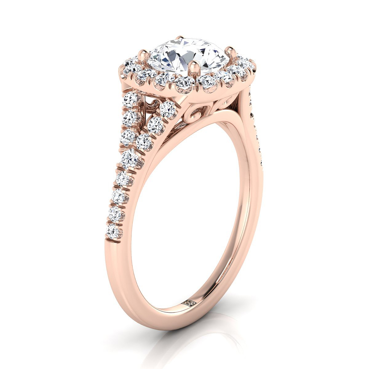 Diamond Halo Engagement With Pave Shank In 14k Rose Gold (1/2 Ct.tw.)