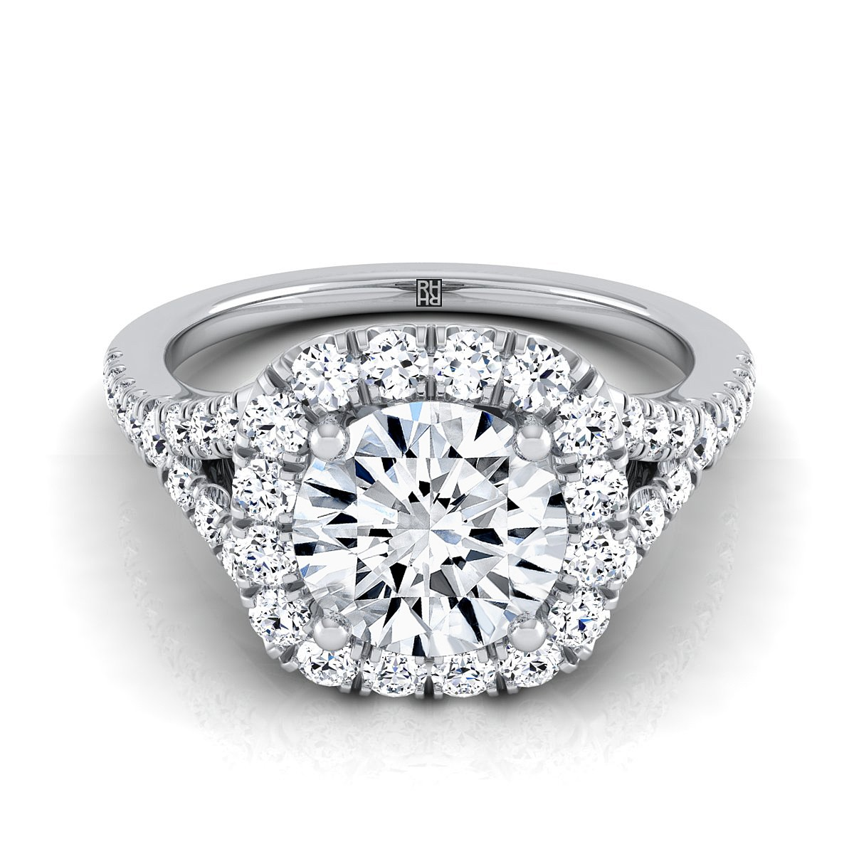 Diamond Halo Engagement With Pave Shank In 14k White Gold (1/2 Ct.tw.)