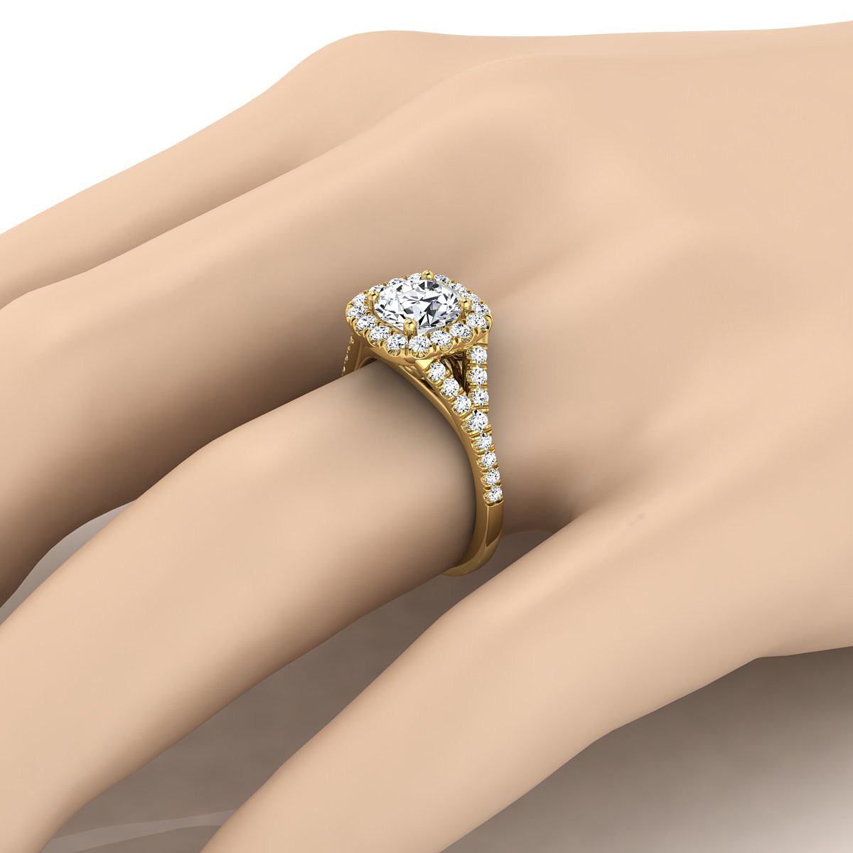 Diamond Halo Engagement With Pave Shank In 14k Yellow Gold (1/2 Ct.tw.)