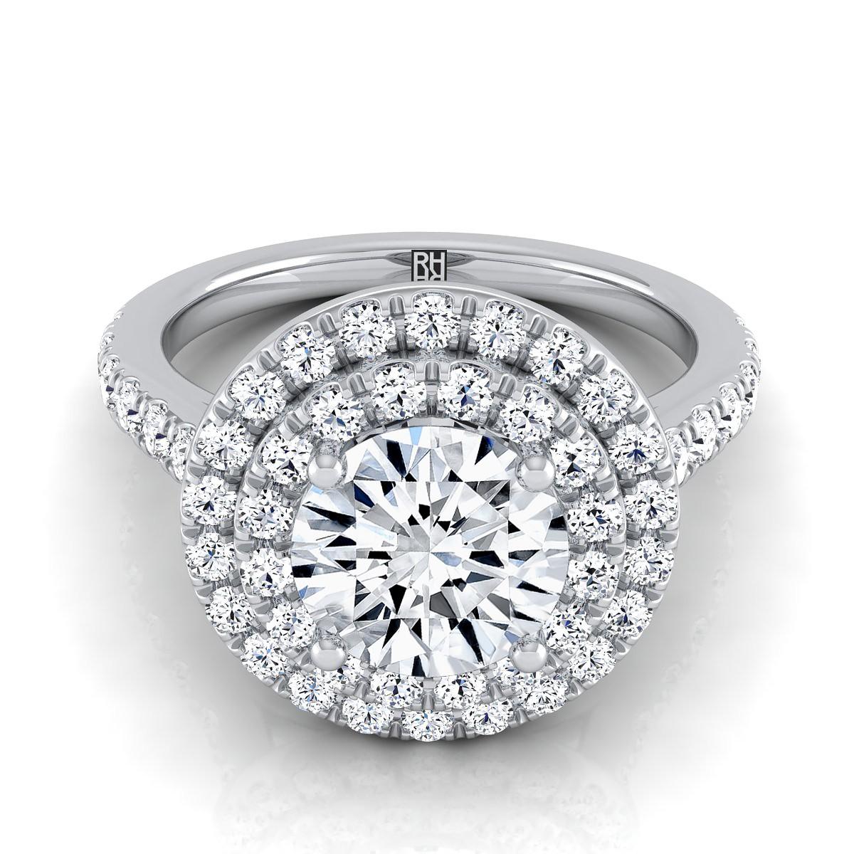 Diamond Double Entourage Engagement Ring In 14k White Gold (3/4 Ct.tw.)