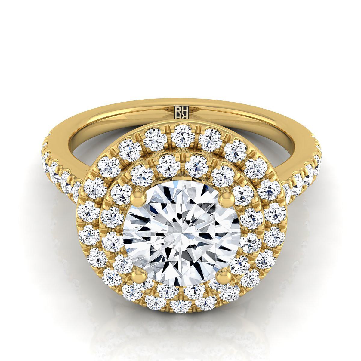 Diamond Double Entourage Engagement Ring In 14k Yellow Gold (3/4 Ct.tw.)