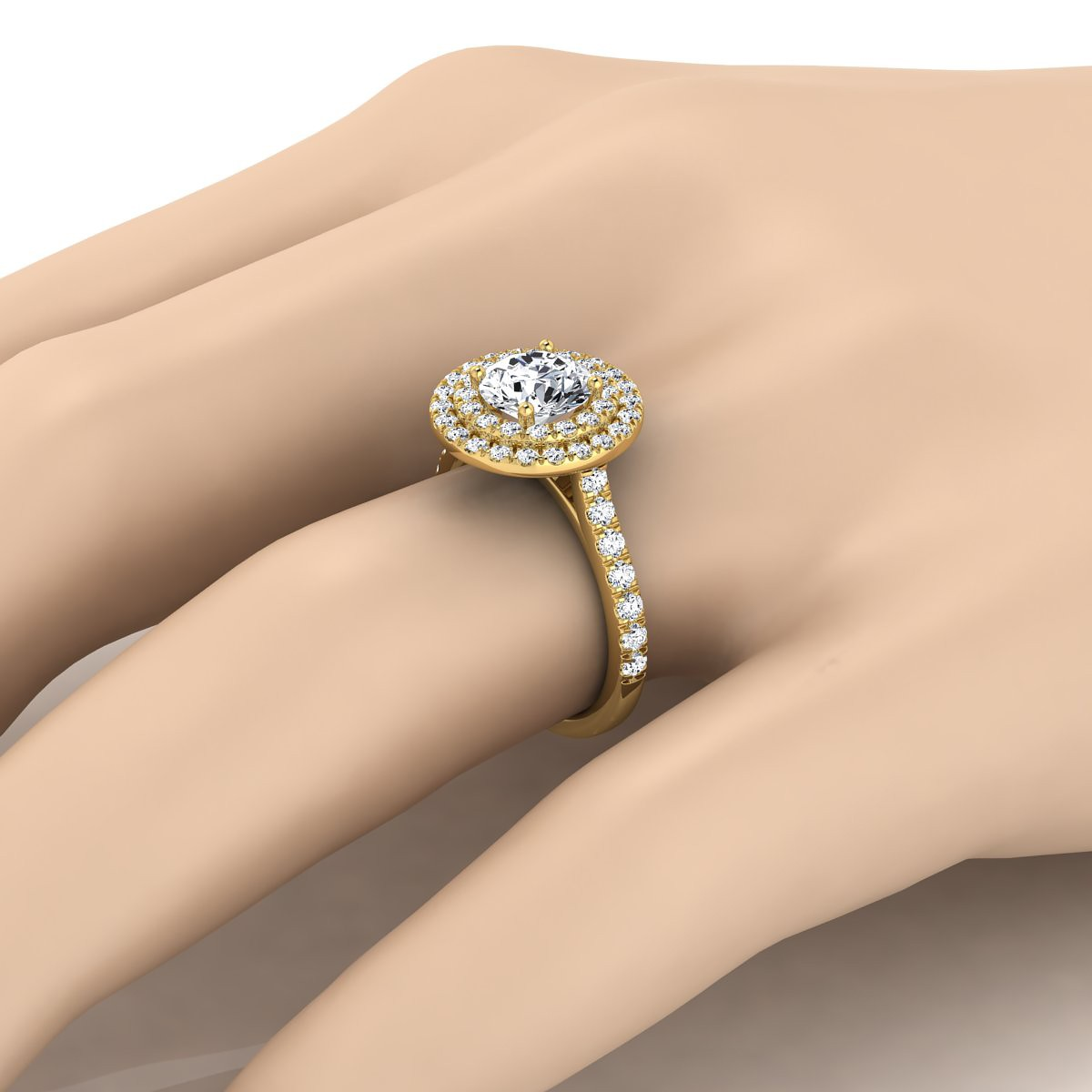 Diamond Double Entourage Engagement Ring In 14k Yellow Gold (3/4 Ct.tw.)