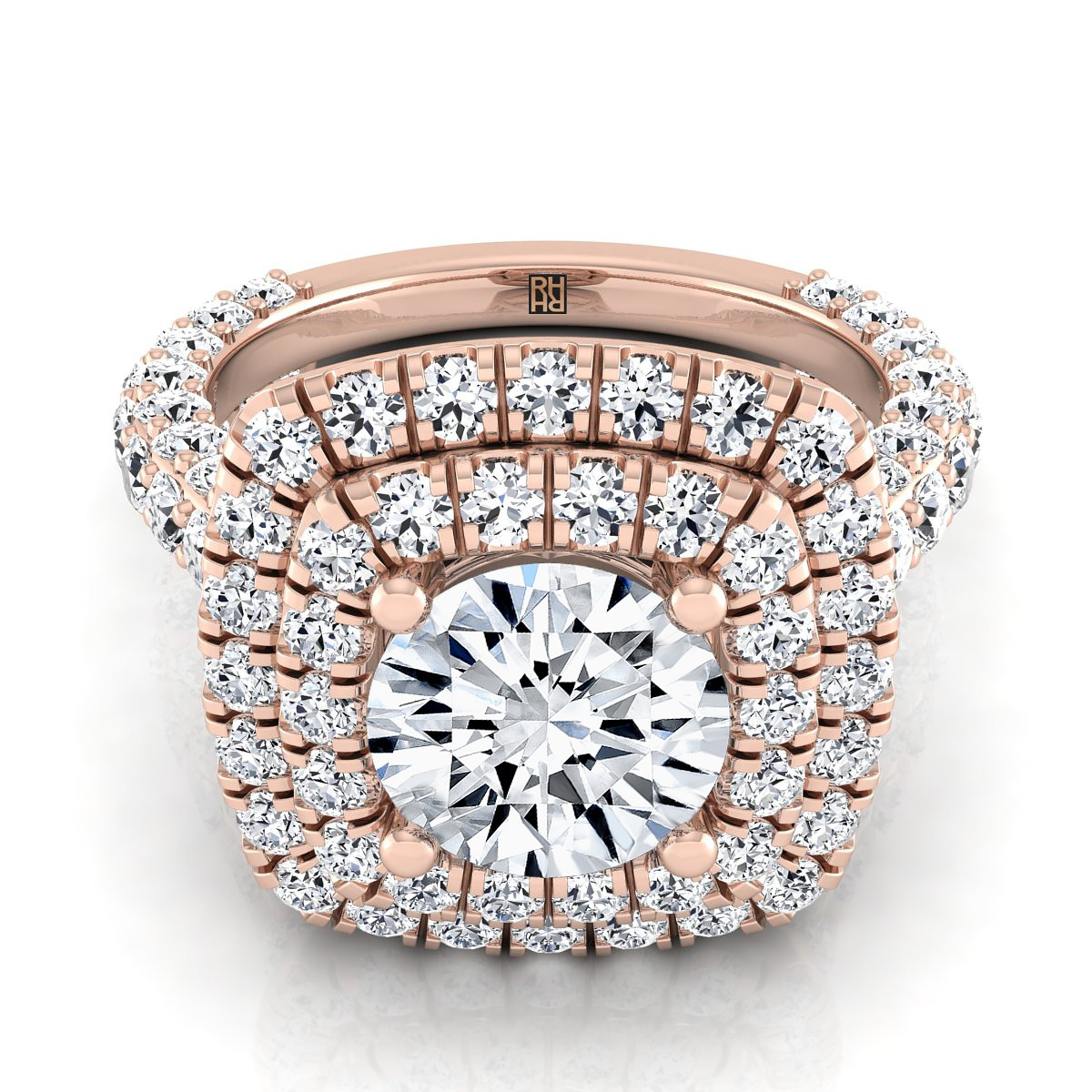 Diamond Double  Halo Engagement Ring With A Pave Shank In 14k Rose Gold (2-1/6 Ct.tw.)