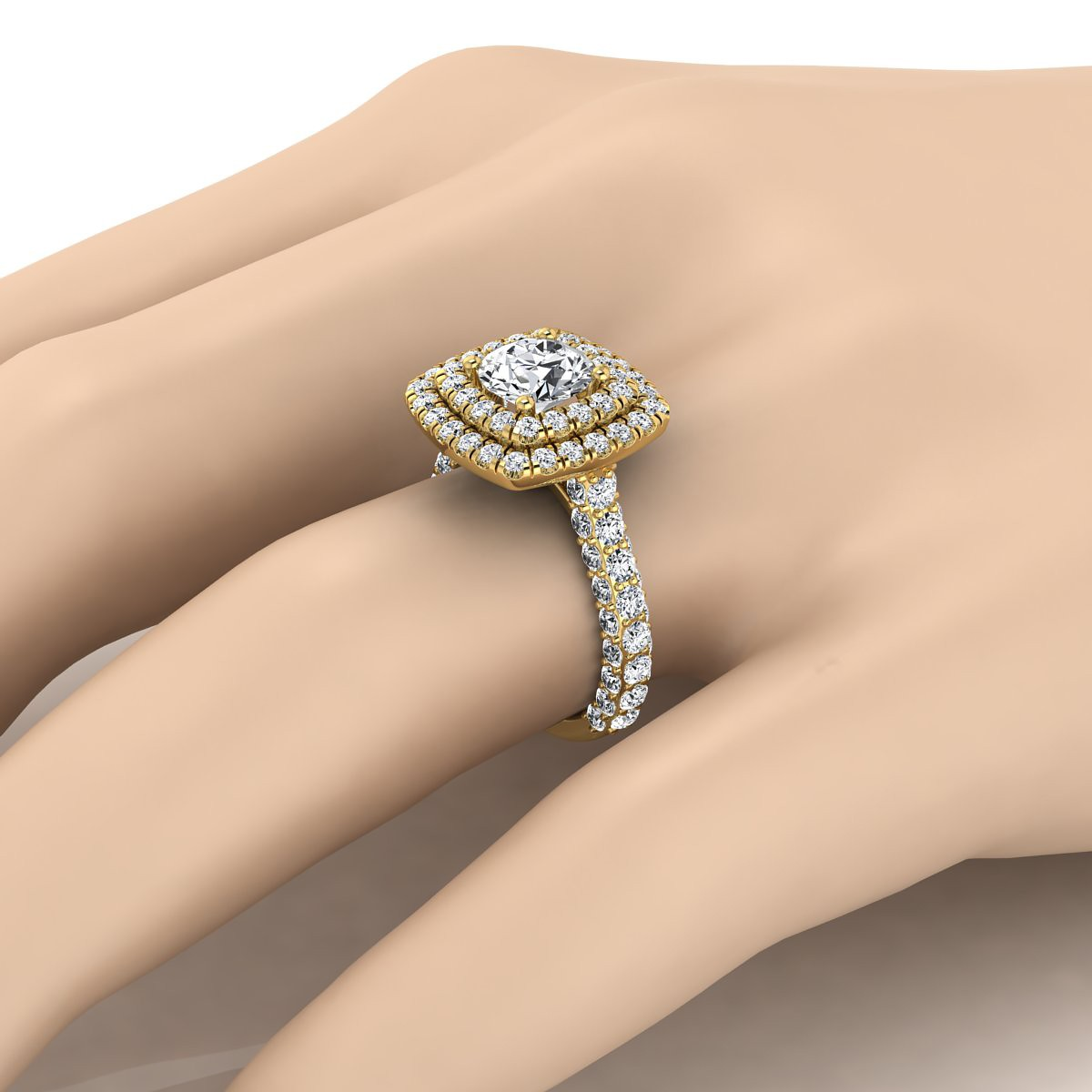 Diamond Double  Halo Engagement Ring With A Pave Shank In 14k Yellow Gold (2-1/6 Ct.tw.)