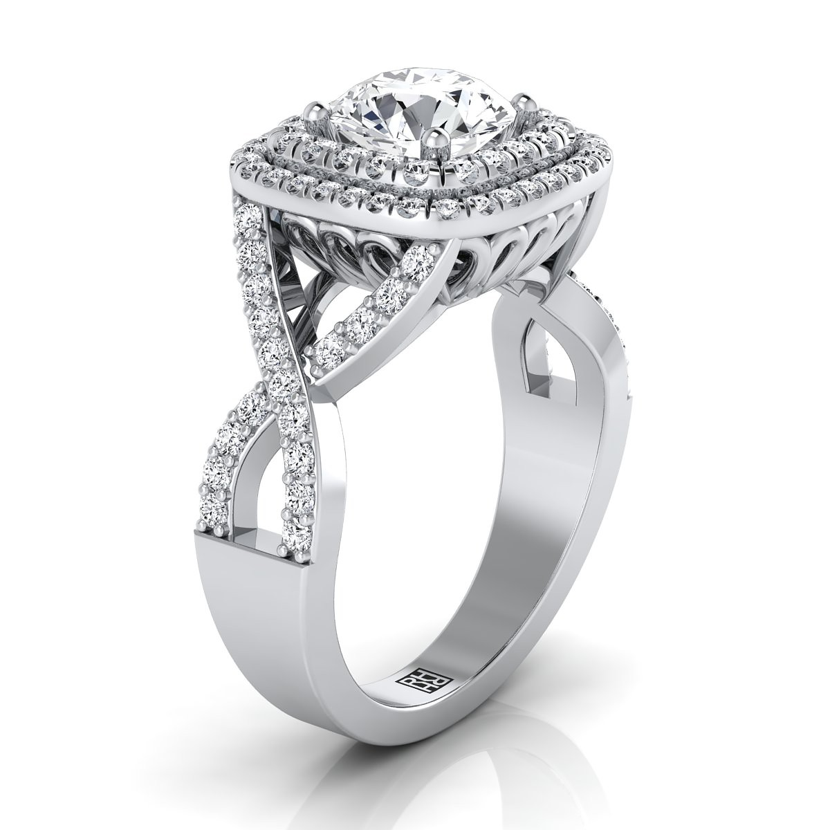 Double Square Halo Infinity Shank Ring In 14k White Gold (5/8 Ct.tw.)