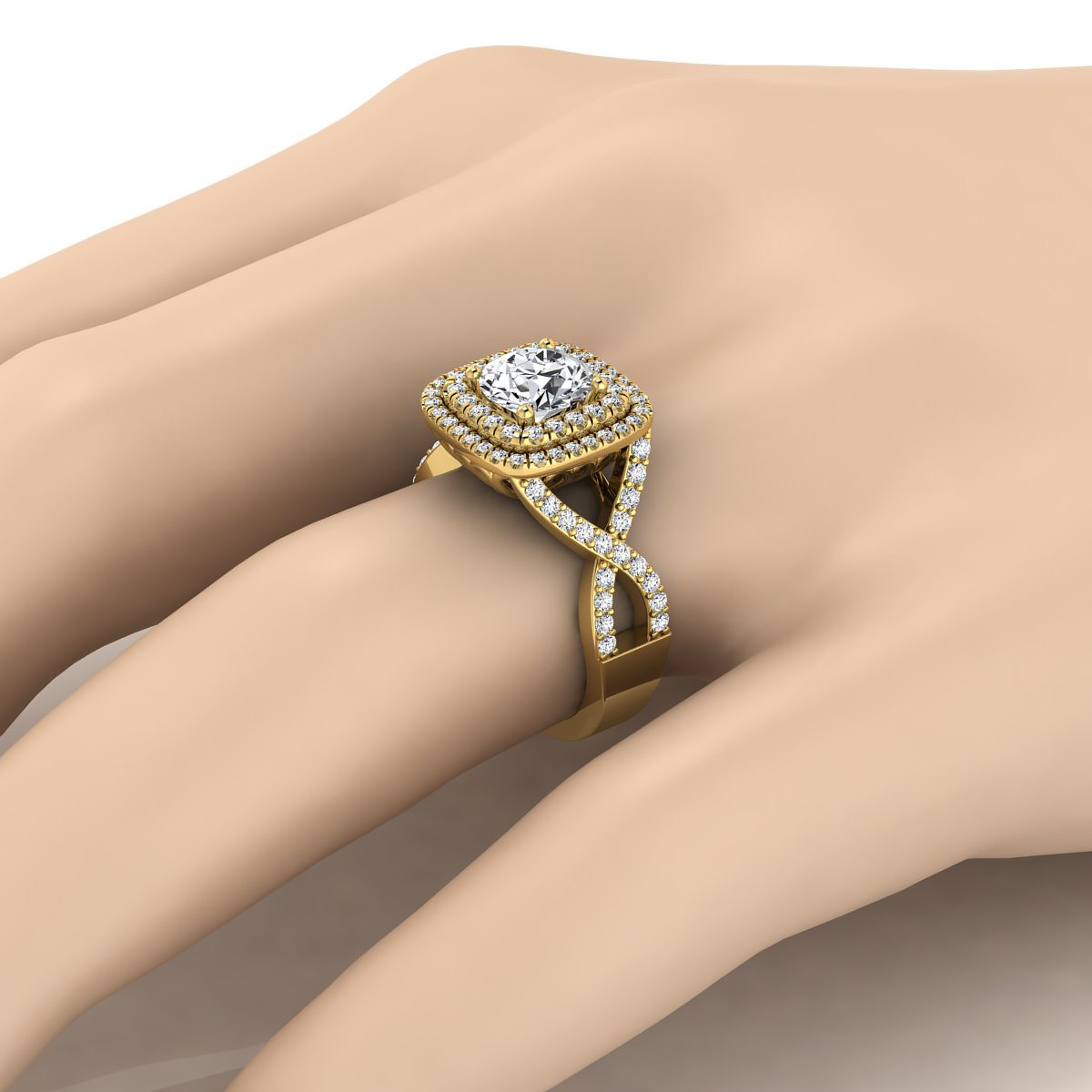 Double Square Halo Infinity Shank Ring In 14k Yellow Gold (5/8 Ct.tw.)