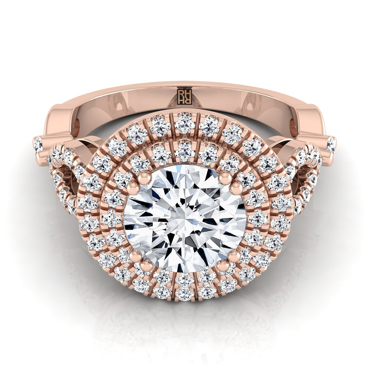 Diamond Double Halo Engagement Ring With Tear Drop Detail Shank In 14k Rose Gold (1/2 Ct.tw.)