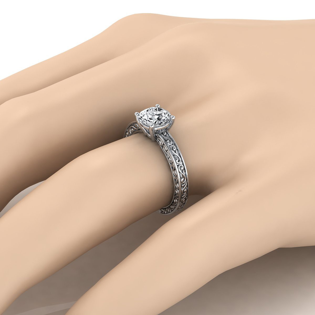 Diamond Solitaire Engagement Ring With Scroll Detail Shank In 14k White Gold