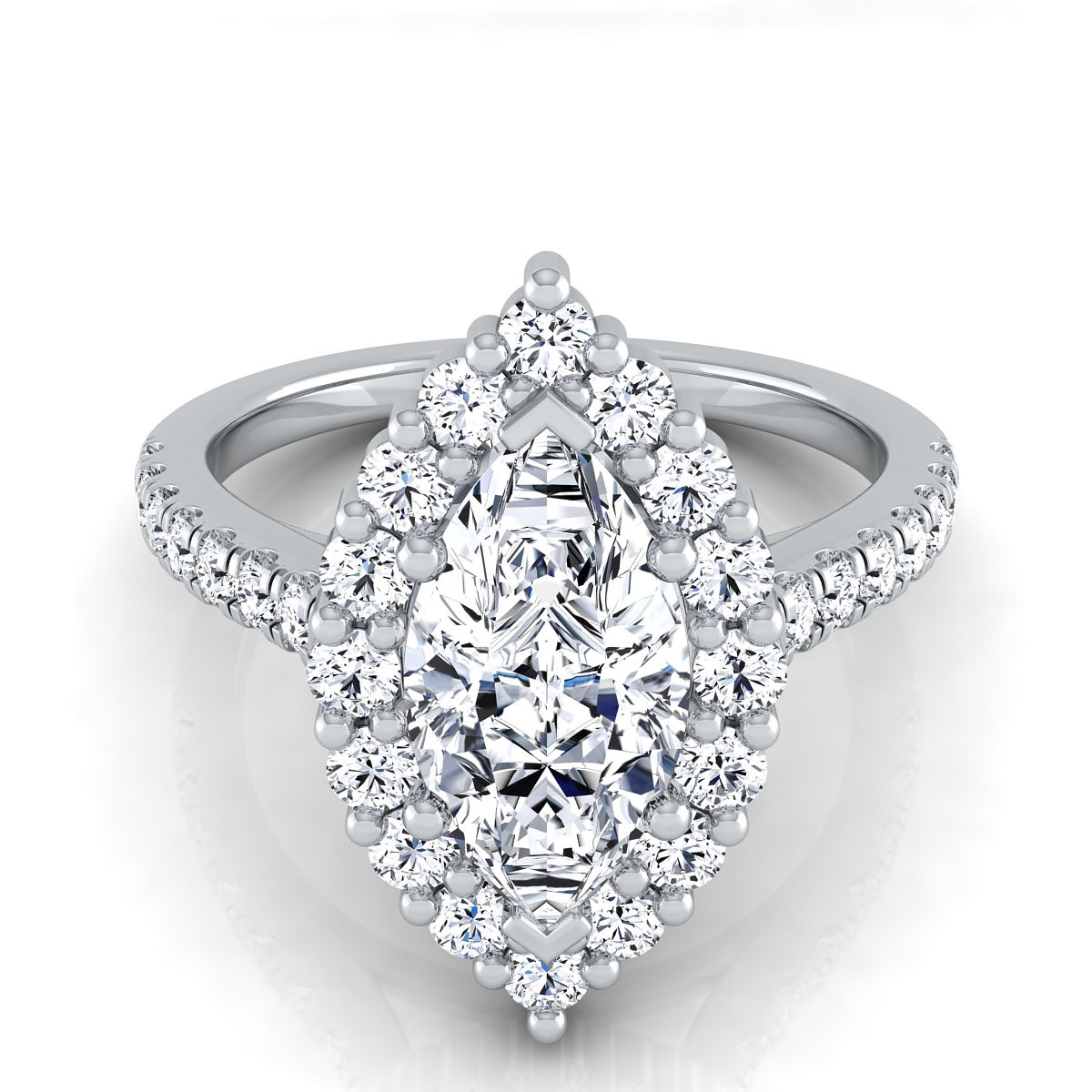 This marquise cut engagement ring features a shared prong halo design and a platinum shank covered in diamonds.