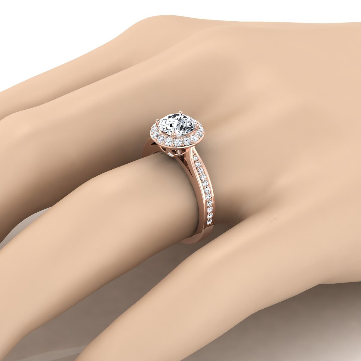 Diamond Halo Engagement Ring With Pave Shank In 14k Rose Gold (3/8 Ct.tw.)