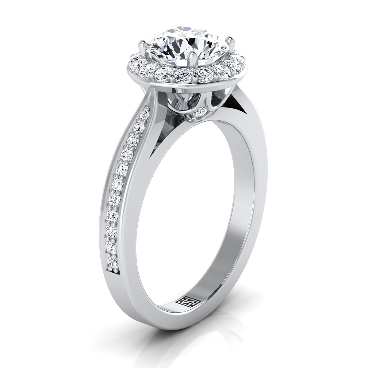 Diamond Halo Engagement Ring With Pave Shank In 14k White Gold (3/8 Ct.tw.)