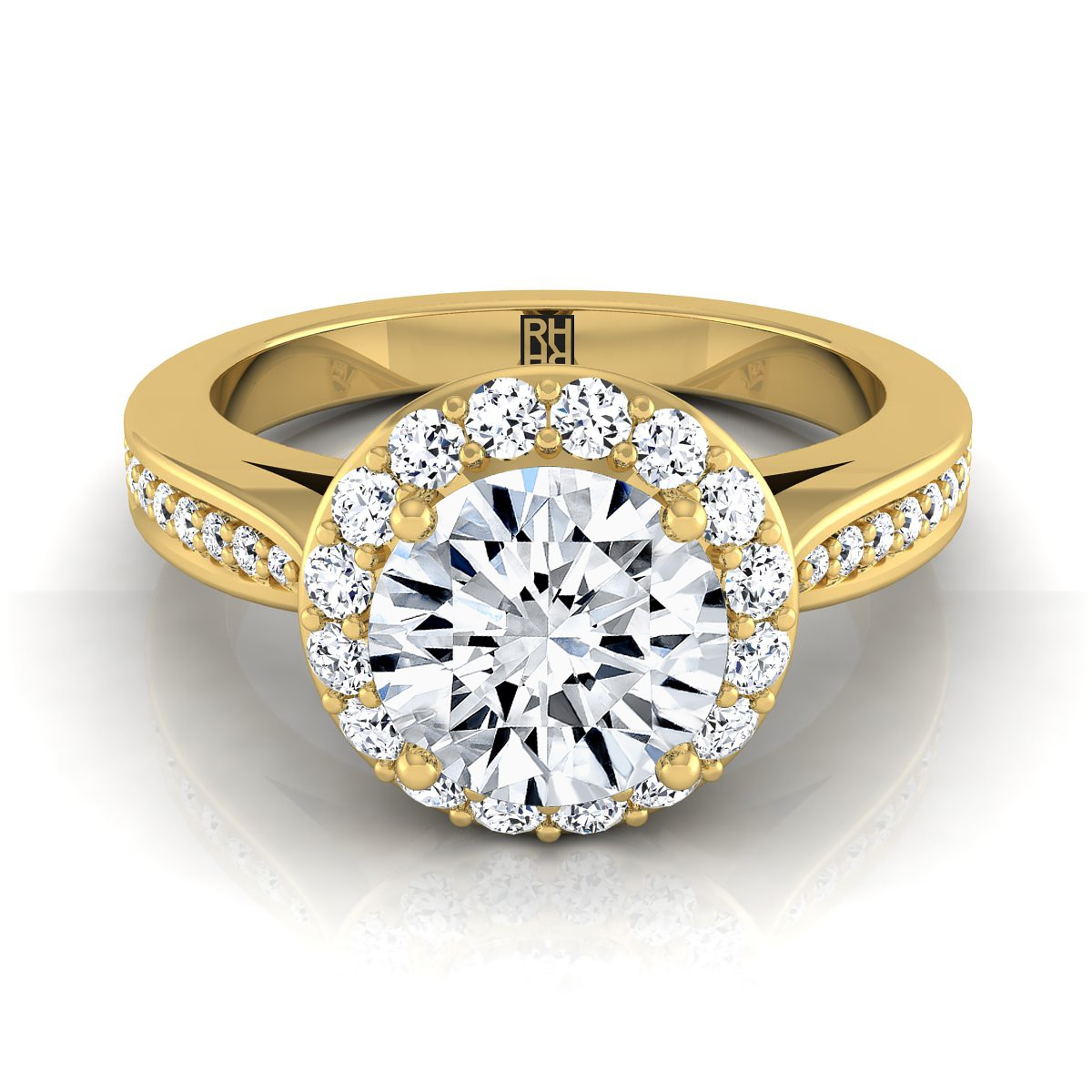 Diamond Halo Engagement Ring With Pave Shank In 14k Yellow Gold (3/8 Ct.tw.)
