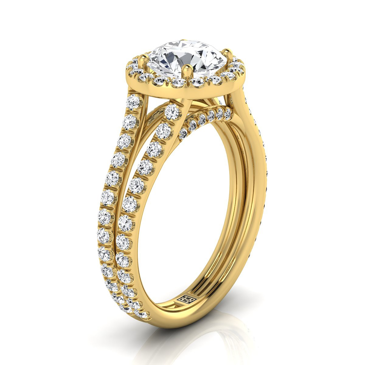 Diamond Halo Engagement Ring With A Split Shank In 14k Yellow Gold (7/8 Ct.tw.)
