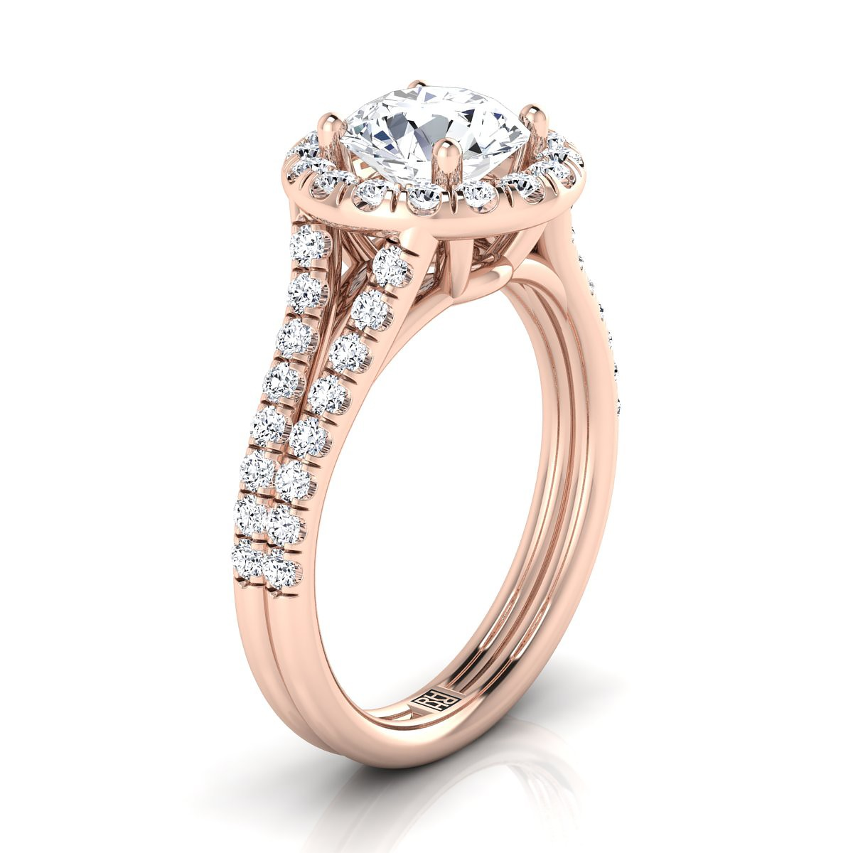 Diamond Halo Engagement Ring With A Split Shank In 14k Rose Gold (2/3 Ct.tw.)