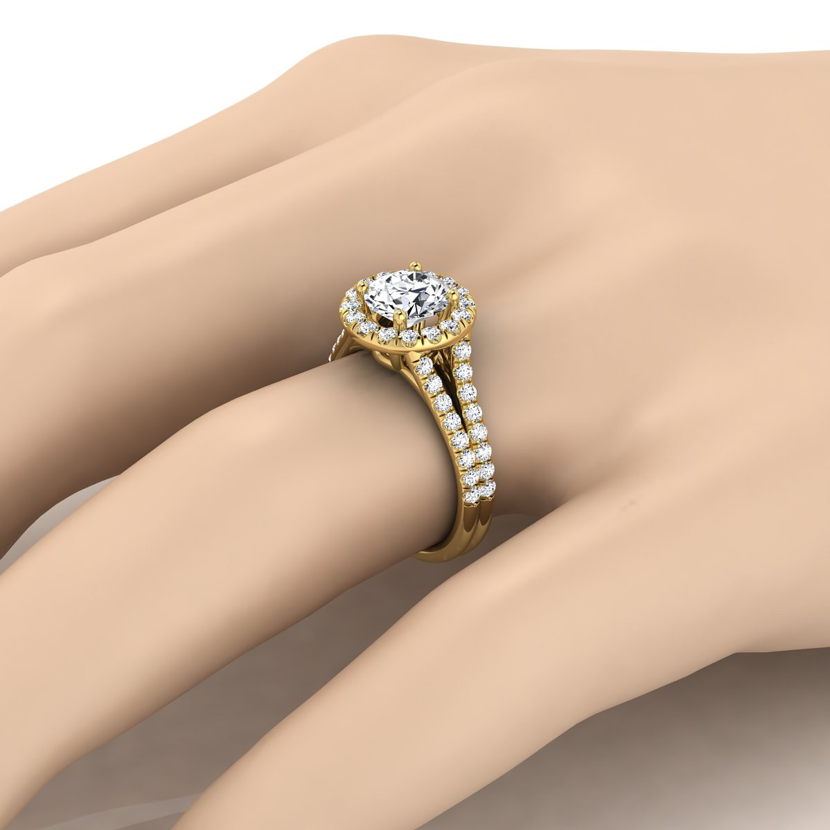 Diamond Halo Engagement Ring With A Split Shank In 14k Yellow Gold (2/3 Ct.tw.)
