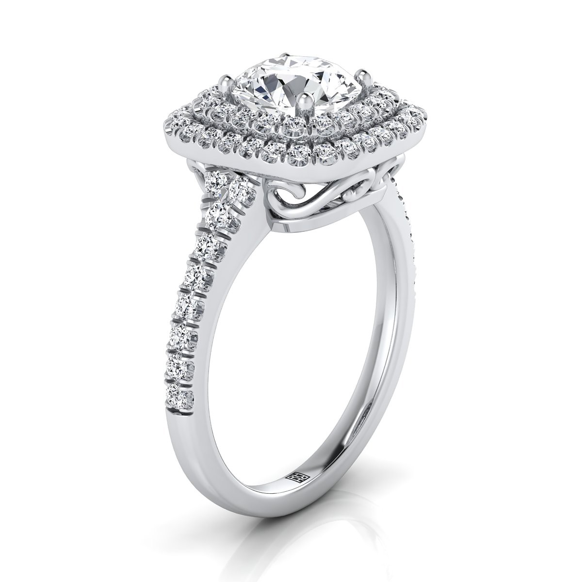 Diamond Double Halo Engagement Ring With A Pave Shank In 14k White Gold (1/2 Ct.tw.)