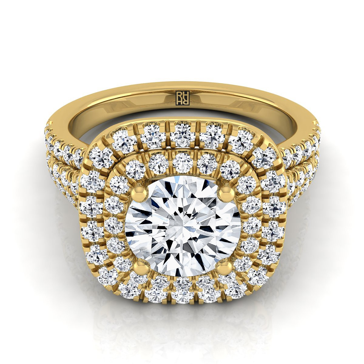 Diamond Double Halo Engagement Ring With A Pave Shank In 14k Yellow Gold (4/5 Ct.tw.)