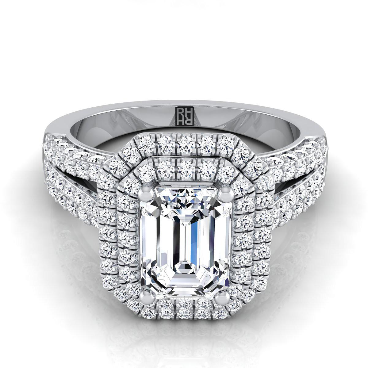 emerald cut halo split shank engagement rings www