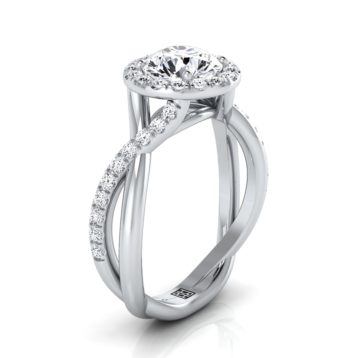 Diamond Halo Engagement Ring With Infinity  Shank In 14k White Gold (3/8 Ct.tw.)